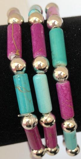 Armband i lila och turkos
