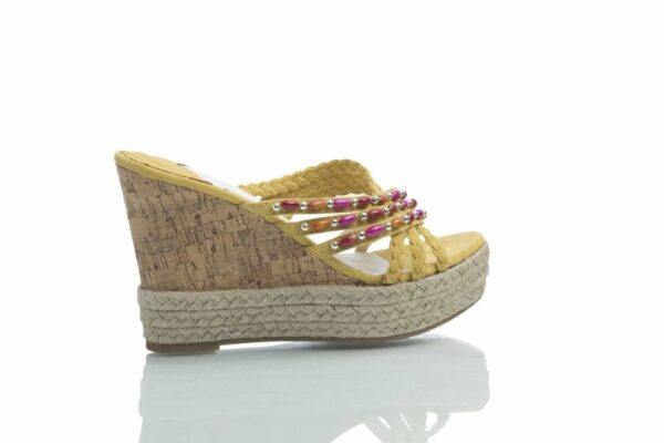 Yellow high wedges from Caribby shoes.