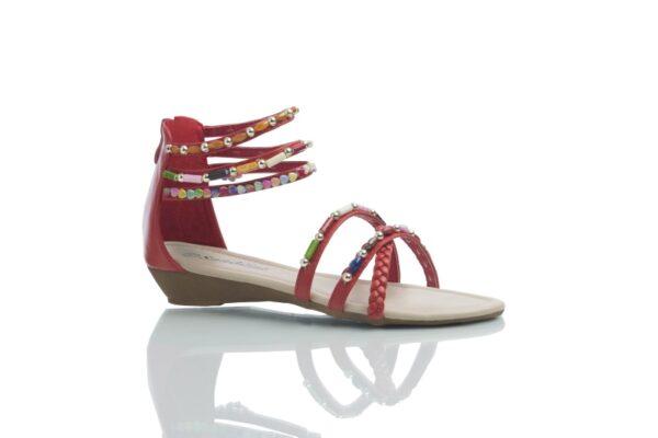 Produktbild Sandal day i rött med färgglada pärlor i olika former.
