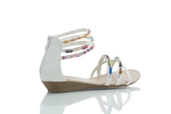 Vita Day, sandal med färgglada pärlor.