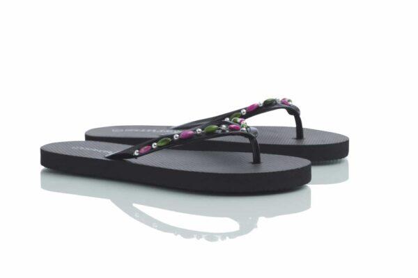 Produktbild svart Loee flip-flop med gröna och rosa pärlor.