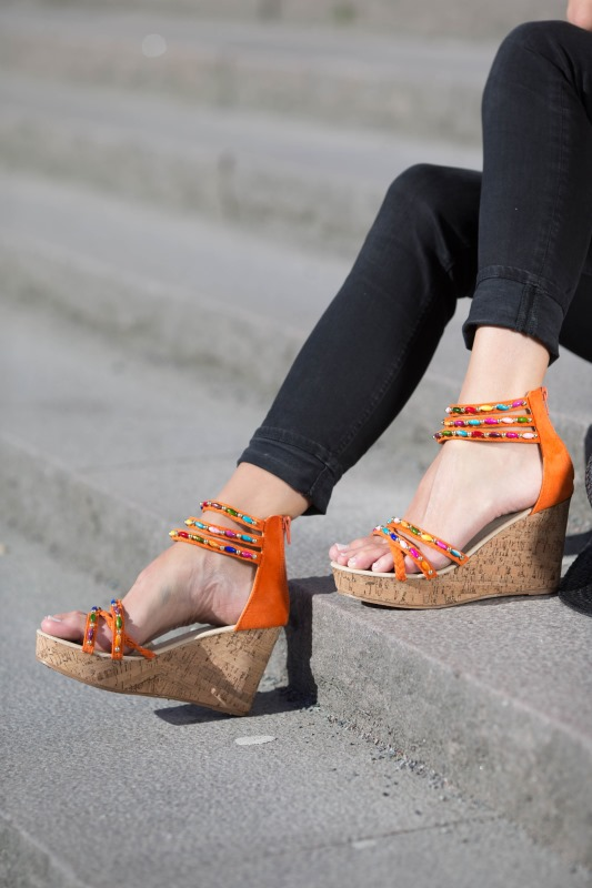 Orange wedges model Tess from Caribby shoes