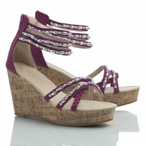 High wedge from Caribby shoes, Tess purple with metallic pearls.