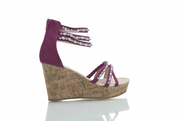 Purple Tess with metallic pearls, from Caribbyshoes.