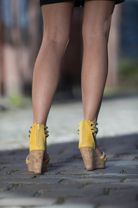 Zipper on heel for stability. Yellow Tess from Caribbyshoes.